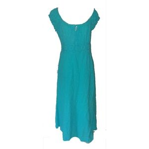 Dresses & Skirts - Boho Beach Cotton Turquoise GypsyFestival Dress XL